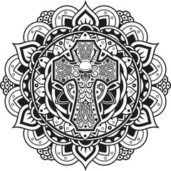 Vector illustration of a cross on an indian mandala