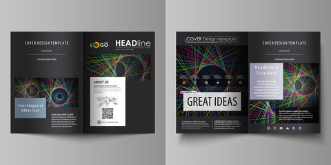 Business templates for bi fold brochure, magazine, flyer, booklet or report. Cover design template, abstract layout in A4 size. Bright color lines, colorful beautiful background. Perfect decoration.