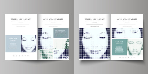 Business templates for bi fold brochure, magazine, flyer, booklet. Cover design template, vector layout in A4 size. Halftone dotted background, retro style pattern, vintage texture. Halftone effect