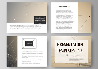 Set of business templates for presentation slides. Abstract vector layouts in flat design. Technology, science, medical concept. Golden dots and lines, cybernetic digital style. Lines plexus.