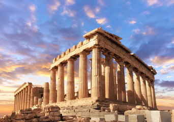 Autocollant pour porte Athenes Parthenon on the Acropolis in Athens, Greece on a sunset