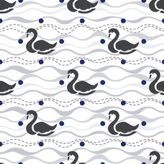 seamless black swan with glitter pattern on wave background