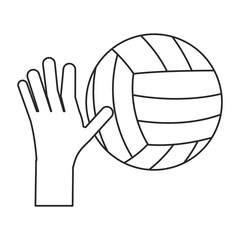 hand holding volleyball ball sport thin line vector illustration eps 10