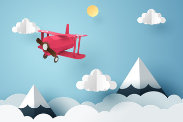 Fototapeta Paper art of pink plane flying in the sky, origami and travel day concept obraz
