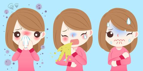 cartoon girl get hay fever