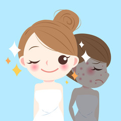 beauty cartoon skincare woman