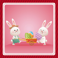 happy easter couple bunny egg celebration vector illustration