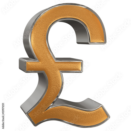 Symbol Of British Pound Sterling Isolated On White Background 3d