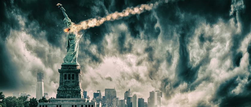 Statue of Liberty destroyed by a meteor | New York city Apocalypse