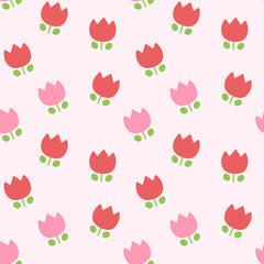 ポップでかわいいランダムチューリップ柄シームレスパターン ピンク系 ベクター