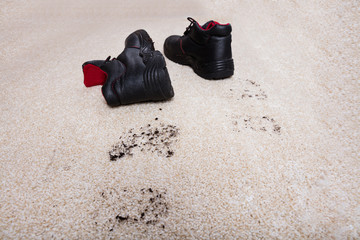 Pair Of Shoes With Mud On Carpet Floor