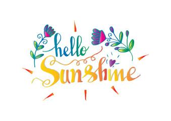 Hello sunshine hand lettering