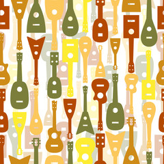 seamless colorful musical equipment pattern background ,ukulele ,guitar