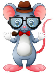 Funny mouse hipster with glasses and bow tie