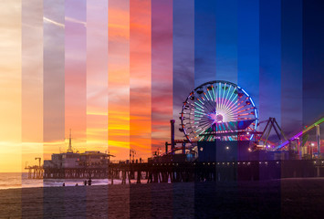 Santa Monica Pier Sunset Slices Timelapse
