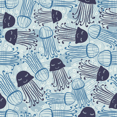 seamless abstract hand drawn blue jelly fish with bubble pattern background