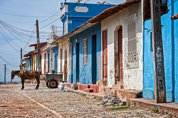 Horse and cart in front of colorful houses in Trinidad, Cuba.