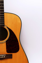 Fragment of an acoustic guitar on a white background.