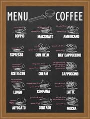 menu hand drawn by chalk