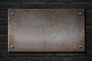 steel metal rusty plate over brick wall 3d illustration