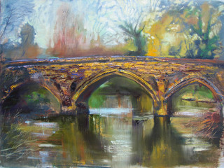 Ancient River Bridge in medieval castle garden, original oil painting on canvas