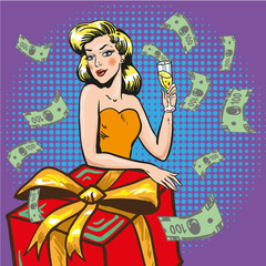 Vector illustration of rich successful woman, pop art style
