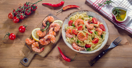 Pasta with shrimps. Healthy food.