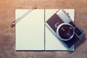 Notebook and camera