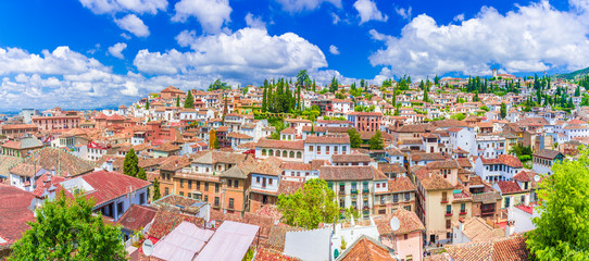 Wall Mural - Panoramic view of the Albaicin medieval district of  Granada, Andalusia, Spain.