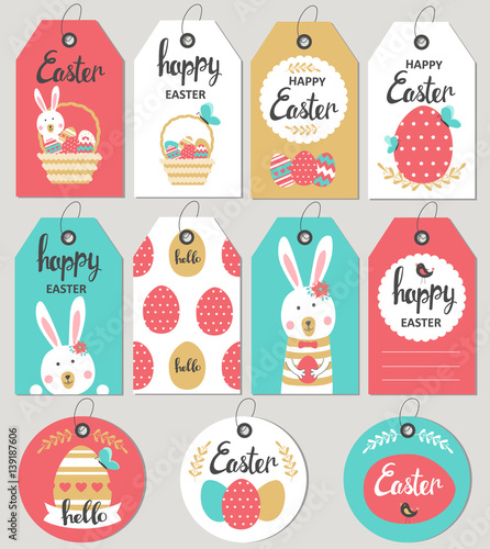 Set with happy easter gift tags and cards with easter bunny set with happy easter gift tags and cards with easter bunny vector illustration negle Image collections