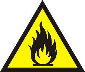 Fire warning sign on white background. vector illustration.