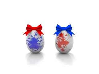 Two Easter eggs with gift bows 3d render