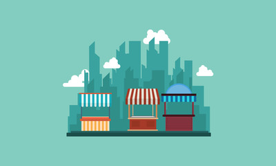 Collection of street shop with city background