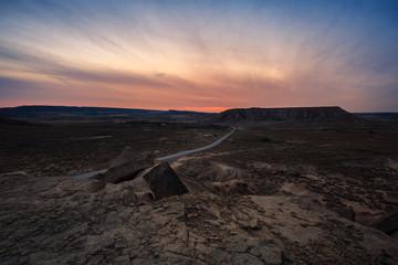 Desert landscape in Bardenas Reales of Navarra, Spain