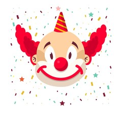 Clown face smile in wig and birthday cap. Vector isolated icon of cartoon circus funny comic man