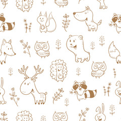 Seamless pattern with cute cartoon foxes, squirrels, wolves, bears, raccoons, owls, deer, and rabbits on white  background. Different plants. Funny forest animals. Children's illustration.