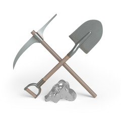 Mining. Shovel, pickaxe and silver nugget. 3d render.