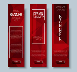 web banners with abstract polygonal red background