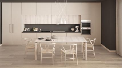 Modern minimal white kitchen with wooden floor, classic interior design
