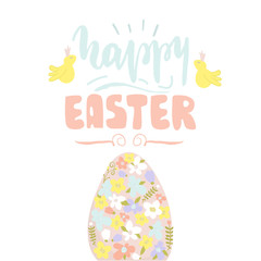 Hello Easter quote. Greeting Easter background with Easter egg and Cute bird. Vector Illustration