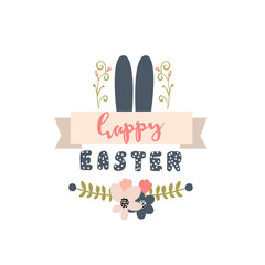 Happy Easter easter label. Background with Cute rabbit ears and floral decorative elements. Vector Illustration