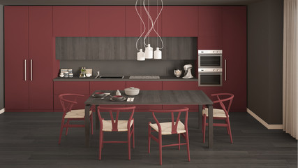 Modern minimal red kitchen with wooden floor, classic interior design