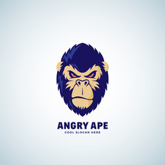 Angry Ape Abstract Vector Sign, Emblem or Logo Template. Monkey Face Symbol. Gorilla Head Silhouette. Good as a Sport Team Mascot.
