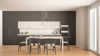 Modern minimal gray kitchen with wooden floor, classic interior design