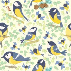 Great tit pattern. Cartoon birds. Hand drawn. Vector illustration