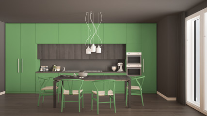 Modern minimal green kitchen with wooden floor, classic interior design