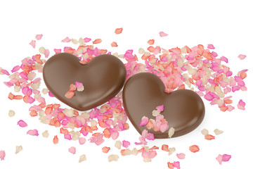 Two chocolate hearts and petals on white background. 3D illustration.