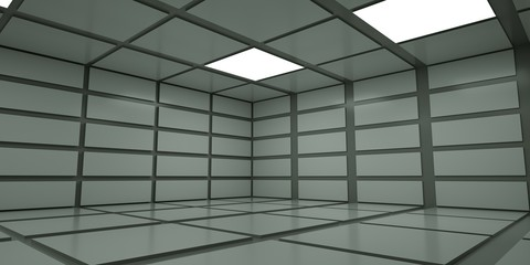 Empty abstract space with light , 3 d render