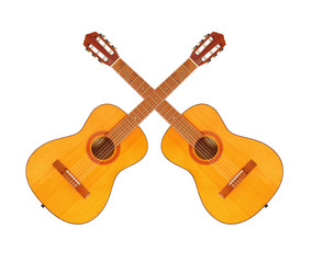Acoustic guitars. Musical instrument isolated on white background.
