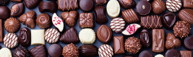 Fototapeta Assortment of fine chocolate candies. Top view obraz